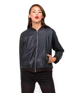 Motel Bomber Jacket in Leather Look Black, TopShop, ASOS, House of Fraser, Nasty gal