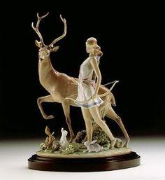 Lladro - Diana, Goddess Of The Hunt Porcelain Figurine Porcelain Jewelry, Fine Porcelain, Porcelain Tile, Artemis, Potnia Theron, Sculpture Art, Sculptures, Doll Tattoo, Indian Dolls