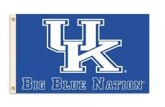 "Show everyone that you are a die-hard fan by hanging up this 3-foot x 5-foot UK ""Big Blue Nation"" flag! This officially licensed flag is made of durable, 100% polyester and is designed with 2 heavy-duty metal grommets so it is easy to hang. This high-quality flag is UK blue and proudly displays the official team logo in the center."