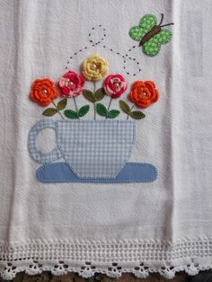 a mixed media tea towel. Applique Patterns, Applique Quilts, Applique Designs, Embroidery Designs, Crochet Projects, Sewing Projects, Quilting, Decorative Towels, Hand Embroidery