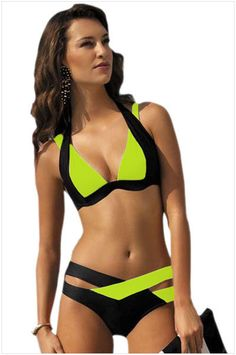 b2bd42403b Contrast Color Patchwork Cross Hollow Out V-neck Bikini
