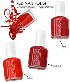 Olivia Palermo style Red Nail Polish essie lollipop clam bake really red