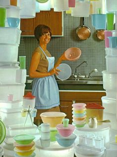 my aunt sold tupperware so we had every piece you could possibly have...all with a life time guarantee!