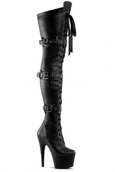 Pleaser Boots Black Leather Look Thigh Boots - Adore 3028