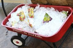 cute idea to cool off drinks at a kid's party