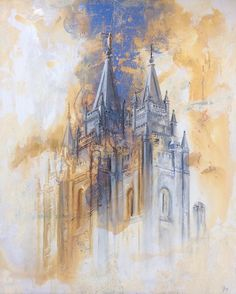 SLC temple. Abstract combination. Oil and cold wax. #ldstemples…