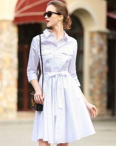 #AdoreWe #VIPme Shirt Dresses - LANJIAN White Plain Office Belted Swing Shirt Dress - AdoreWe.com