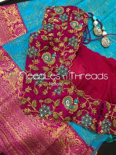 Needles n Threads, Nish*tha celebrations,Kings court avenue, Nellore Wedding Saree Blouse Designs, Half Saree Designs, Pattu Saree Blouse Designs, Fancy Blouse Designs, Chudidhar Neck Designs, Hand Designs, Sleeve Designs, Peacock Embroidery Designs, Maggam Work Designs