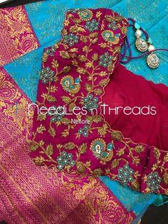 Needles n Threads, Nish*tha celebrations,Kings court avenue, Nellore Wedding Saree Blouse Designs, Half Saree Designs, Pattu Saree Blouse Designs, Fancy Blouse Designs, Blouse Neck Designs, Peacock Embroidery Designs, Hand Work Blouse Design, Maggam Work Designs, Hand Work Embroidery