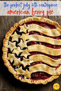 american berry pie - fresh summer berries & a flaky butter almond pie crust create a perfect pie for the fourth of july. Köstliche Desserts, Dessert Recipes, Picnic Desserts, Pie Recipes, Cooking Recipes, Dishes Recipes, Cooking Games, Easy Recipes, Pie Dessert