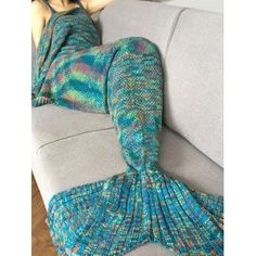 Super Soft Crochet Knitted Fashion Mermaid Tail Shape Blanket For Adult