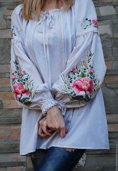 """Купить Эксклюзивная вышитая блуза """"Магия цветка"""", блуза с ручной вышивкой! - рисунок, вышитая блузка"""