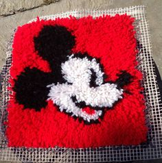Mickey Mouse Latch Hook Rug Wall Hanging Vintage Walt Disney World Coolness on Etsy, $18.00