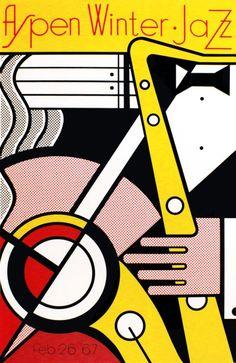 Roy Lichtenstein - Original Vintage Pop Art Music Poster For The Aspen Winter Jazz Festival In 1967 Jazz Poster, Poster Art, Retro Poster, Vintage Posters, Poster Boards, Roy Lichtenstein, Jasper Johns, Jazz Festival, Festival Posters