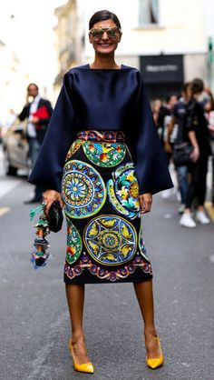 Giovanna Battaglia at Milan Fashion Week during the Spring 2015 collections. via @stylelist | http://aol.it/ZMDyyK