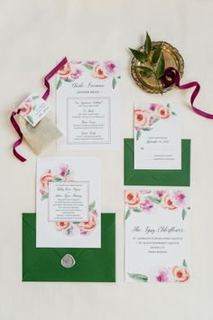Floral and emerald green inspired wedding invitations: http://www.stylemepretty.com/north-carolina-weddings/new-hill/2015/11/16/classic-north-carolina-estate-wedding-inspiration-overflowing-with-flowers/ | Photography: Caroline Lima - http://carolinelima.com/