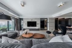 Living room, house, home, interior, design, grey, beige, modern