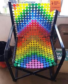 Wonderful chair made of plastic bottle caps