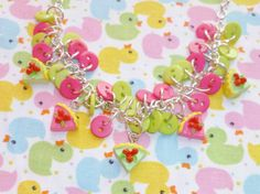 Raspberry Lime Pie  Pink and Green Button Charm by NiNEFRUiTSPiE, £7.00