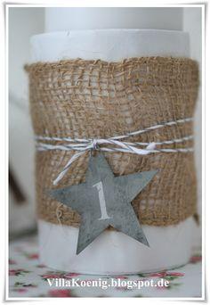Kandelaar met jute, touw en ster