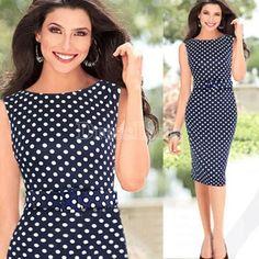 New Celeb Style Dot Pattern Ladies Blue Pencil Evening Slimming Panel Tea Dress