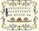 alphabet sampler; chart in black and white; DMC color key