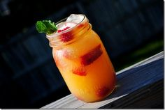 Nectarine Vodka Chiller, how I love thee..(substituted peaches for nectarines and strawberries for raspberries..)