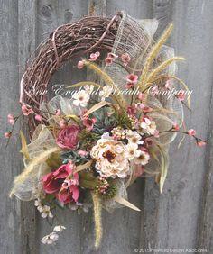 Valentines Wreath, Spring Wreath, Easter Wreath, Floral Wreath, Country French, Designer Wreath, Elegant Garden Wreath, Wedding Wreath