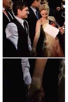 Jennifer Lawrence and Josh Hutcherson holding hands at the Catching Fire premier in Rome. #catchingfire