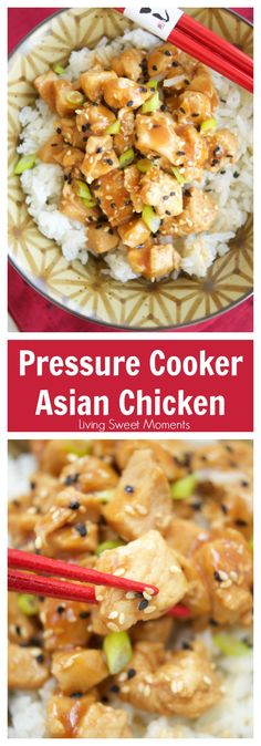 This delicious Asian Sesame Instant Pot Chicken recipe is made in the pressure cooker for only 5 minutes. Perfect for a quick weeknight dinner idea.  via @Livingsmoments