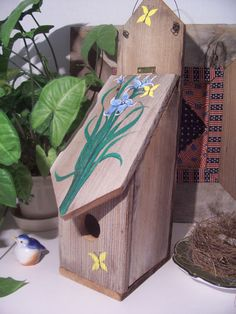 Birdhouse - Hand Painted - Lily Flowers - Three Butterflies - Salvaged Wood - Rustic- Decorative Birdhouse - OFG Team. , via Etsy.