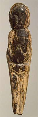 Malta venus Female figurine.  Mammoth tusk; engraved. Height 87 mm. Maltinsko-buretskaya Culture. 23 000 - 19 000 BP Malta Site (Excavations of M.M. Gerasimov, 1928-1930), Siberia, the River Belaya, near Irkutsk, Russia