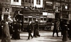 1900s TURN OF CENTURY NEW YORK CITY MANHATTAN PEDESTRIANS TRAFFIC CARS DOUBLE DECKER BUS FIFTH AVENUE URBAN STREET SCENE