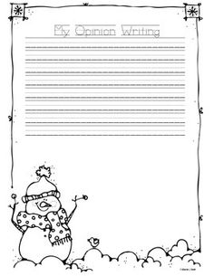 This Opining Writing Bundle has one opinion writing page per month.  Each border is black and white for students to color and each monthly border is different from the Informational Writing Bundle and Narrative Writing Bundle.