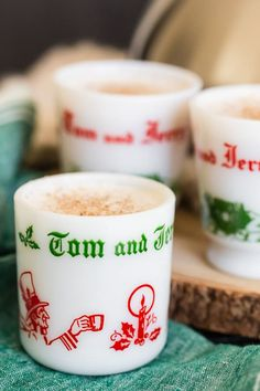 This vintage Tom and Jerry cocktail recipe is the perfect boozy treat! A delicious batter mixed with hot water and just a splash of spiced rum. Tom And Jerry Mix Recipe, Tom N Jerry Drink Recipe, Tom And Jerry Batter, Tom And Jerry Drink, Fun Cocktails, Holiday Cocktails, Cocktail Recipes, Drink Recipes, Vintage Cocktails