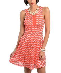 Coral & White Zigzag Sleeveless Dress
