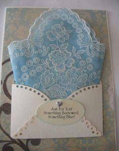 Vintage Blue Wedding Handkerchief Bride Gift Embroidered Something Borrowed Something Blue Hanky Greeting Card. $7.95, via Etsy.