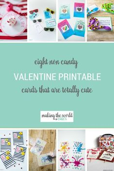 8 Totally Cute Non Candy Valentines Printable Cards for Kids, Preschool, and Classrooms Valentines Day Cards Handmade, Valentines Day Party, Valentine Day Crafts, Valentine Stuff, Free Printable Gift Tags, Free Printables, Candy Cards, Handmade Headbands, Handmade Crafts