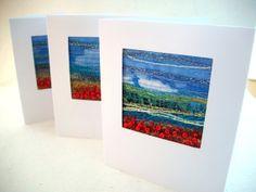 Handmade fibre art card  Embroidered poppy field  by StitchMikki, $6.00