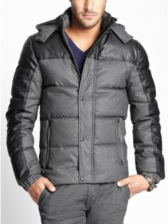 GUESS Men's Long-Sleeve Twill-Print Puffer Jacket, JET BLACK (SMALL) Large