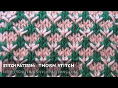 Watch this video to learn how to knit the two-color thorn stitch.
