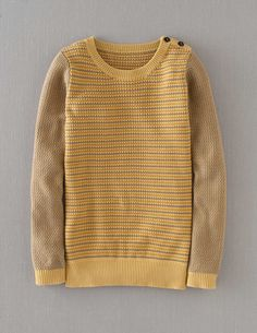 Hotchpotch Jumper, $88 at Boden USA. Texture, stripes, and subtle use of metallic yarn with a vintage feel.