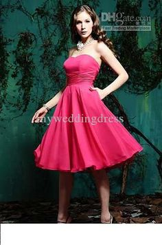 Wholesale - New Style Strapless Fuchsia Pleats A Line Tea Length Chiffon Bridesmaid Dresses Cocktail Gowns 7346, Free shipping, $65.40-82.60/Piece, 1 piece/Lot | DHgate.com