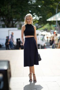 Black Crop Top, Full Midi Skirt, NYFW, Street Style