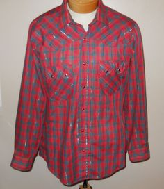 Levi's Tapered Red Plaid Sawtooth Western Shirt Mens Large Thin Paint Stained #Levis #Western