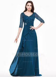 Vestidos princesa/ Formato A Decote V Sweep/Brush trem Vestido para a mãe da noiva com Renda Bordado Lantejoulas Babados em cascata (008065593)