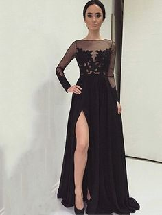 A-Line Bateau Long Sleeves Appliques Split-Front Evening Dress
