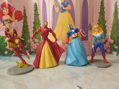 Superhero Princess Party. Belle and Aurora look awesome, but I'm pinning this for Cap and Iron Man