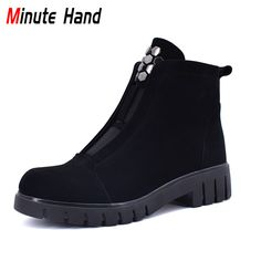 Find More Ankle Boots Information about Minute Hand New Fashion Genuine Leather Handmade Ankle Boots Women Side Zip Square Low Heels Thick Wool Winter Boots Big Size 41,High Quality Ankle Boots from Minute Hand Official Store on Aliexpress.com