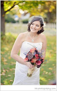 Florist: Stylish Blooms, Bride, birdcage veil